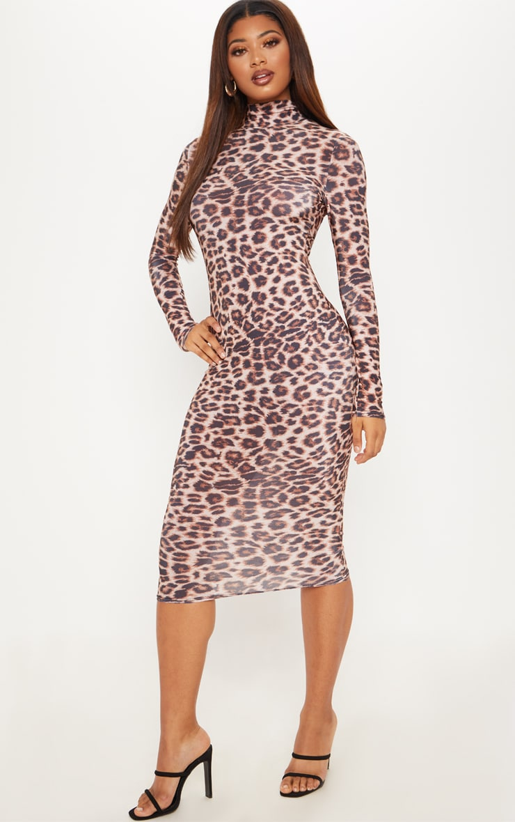 Tall Brown Leopard Slinky High Neck Midi Dress 1
