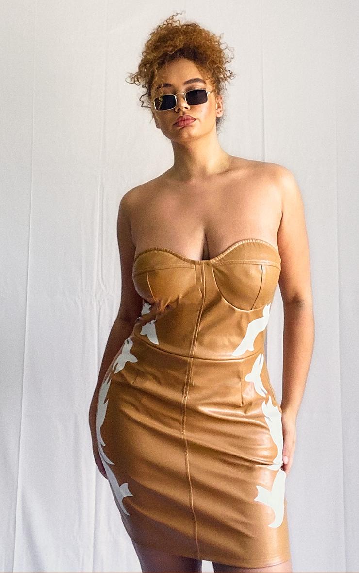 Plus Tan PU Western Bandeau Bodycon Dress 1