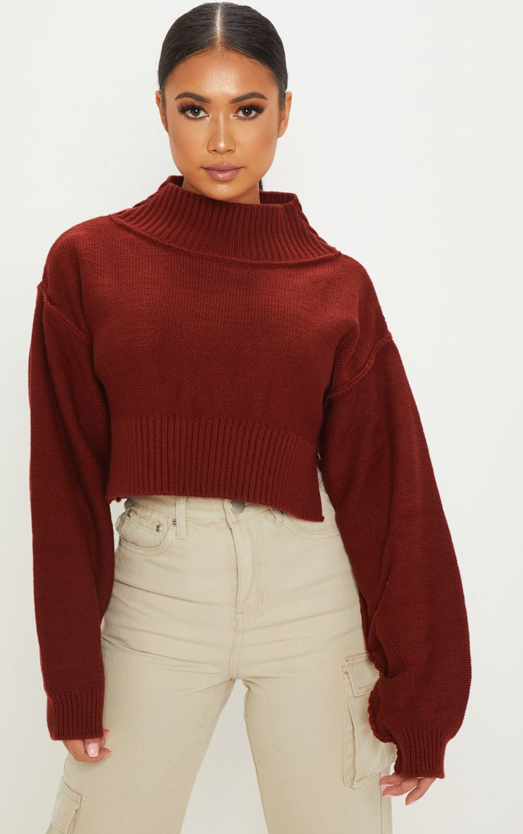 Petite Rust Cropped Sweater 1