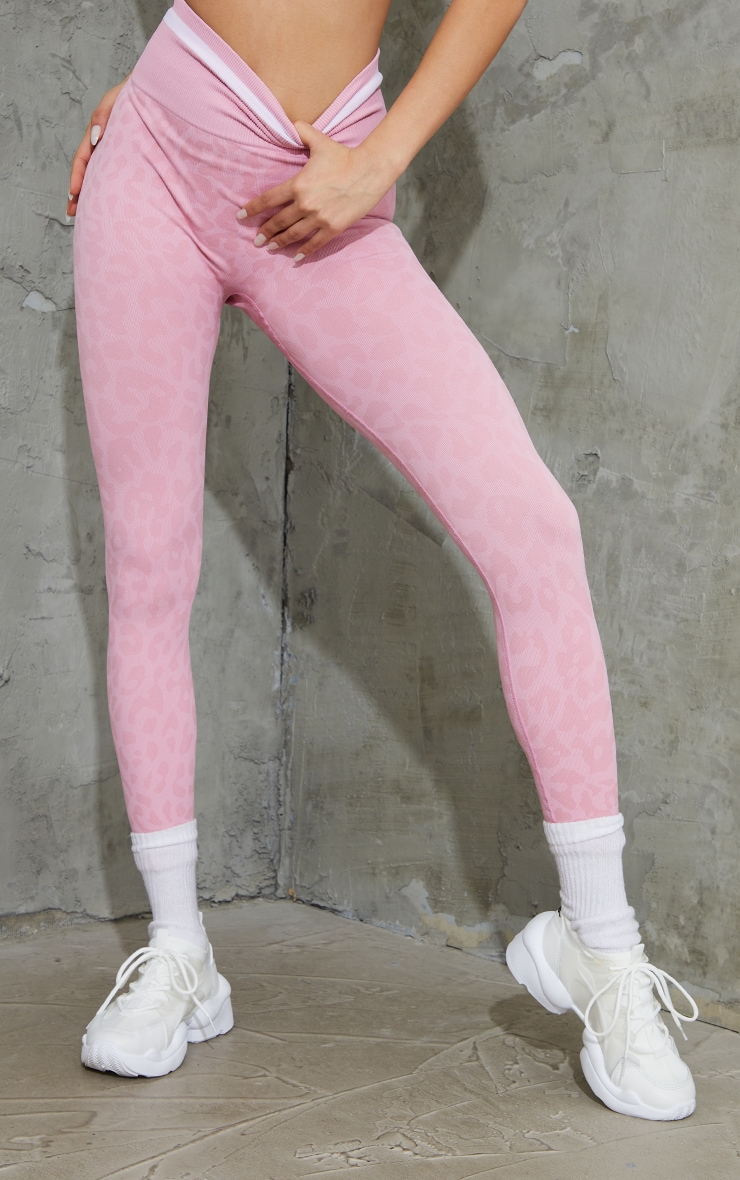 Pink Seamless Leopard Stripe Detail Gym Leggings 2