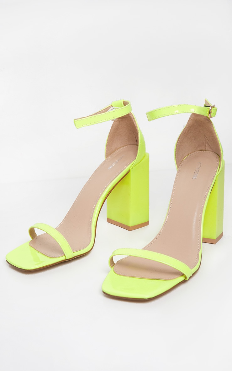 Neon Lime Chunky Block Heel Strappy Sandal 3
