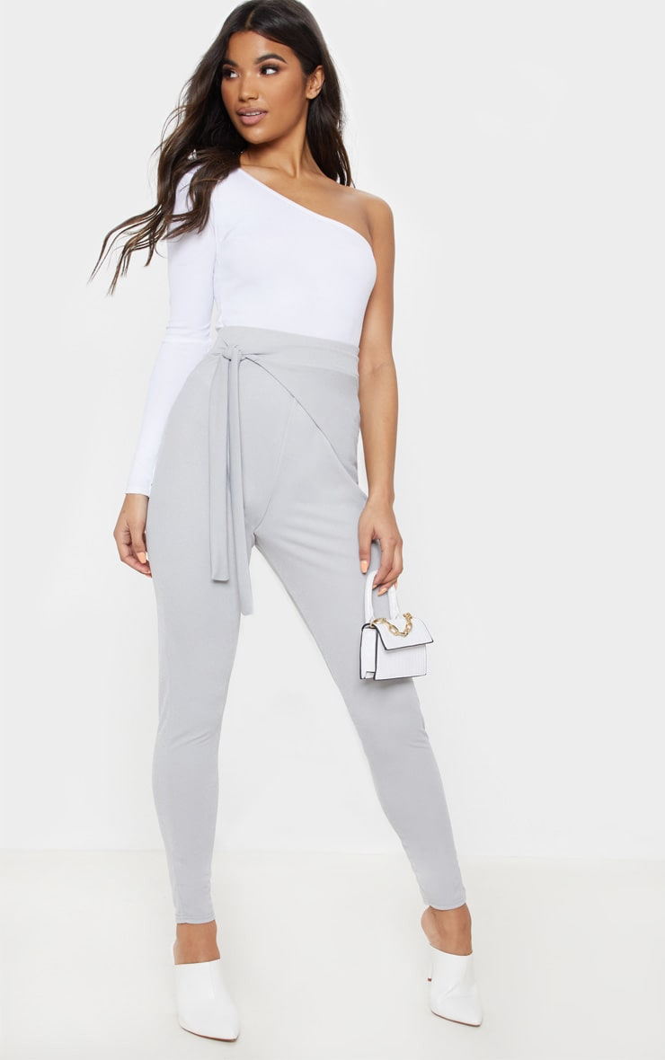 Grey Wrap Front Skinny Trouser  1