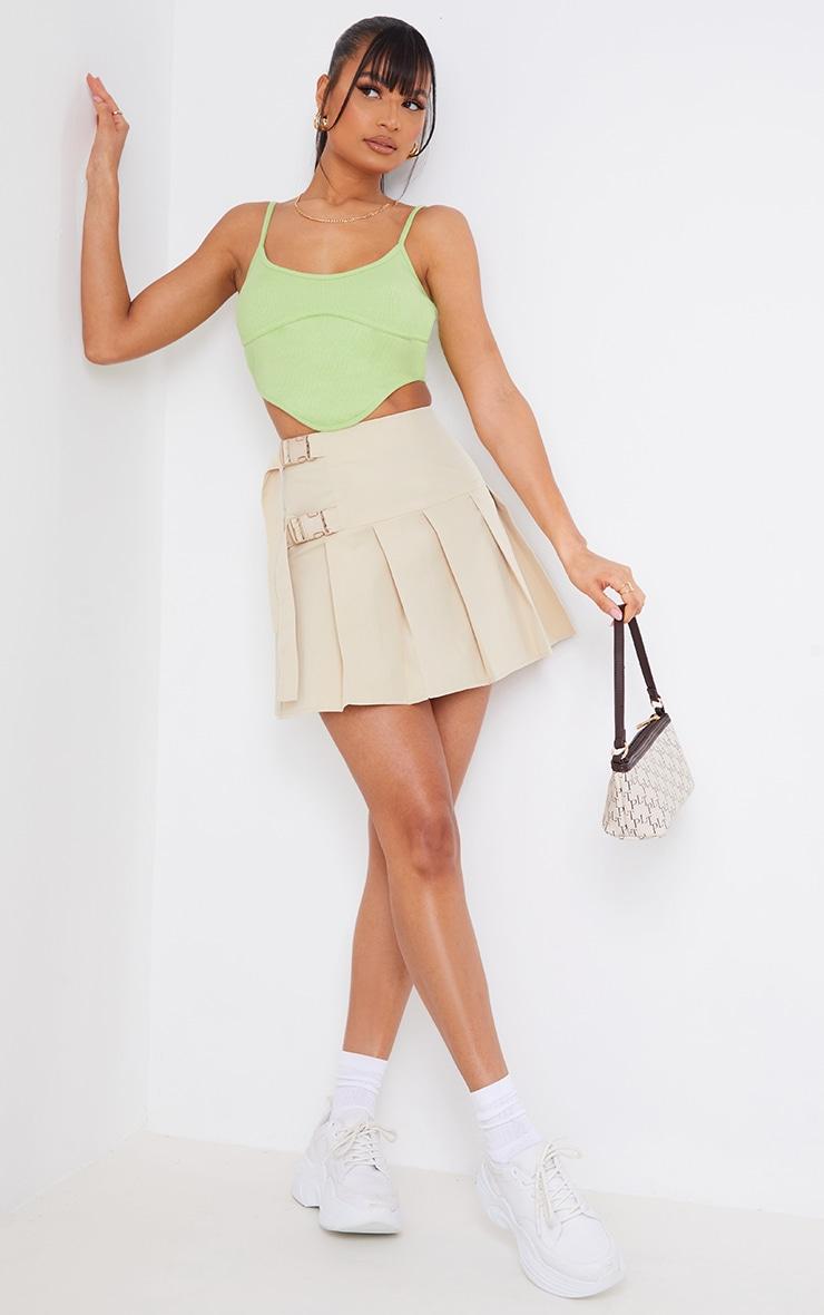 Cream Buckle Detail Woven Pleated Mini Skirt