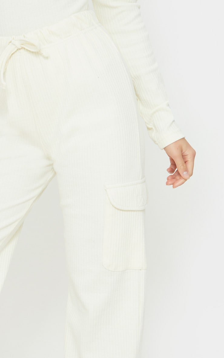 Petite Cream Cargo Detail Ribbed Joggers 4