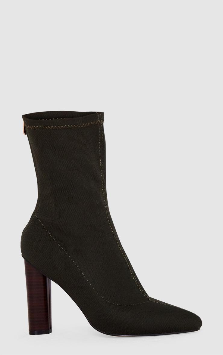 Khaki Woven Sock Heeled Boots  3