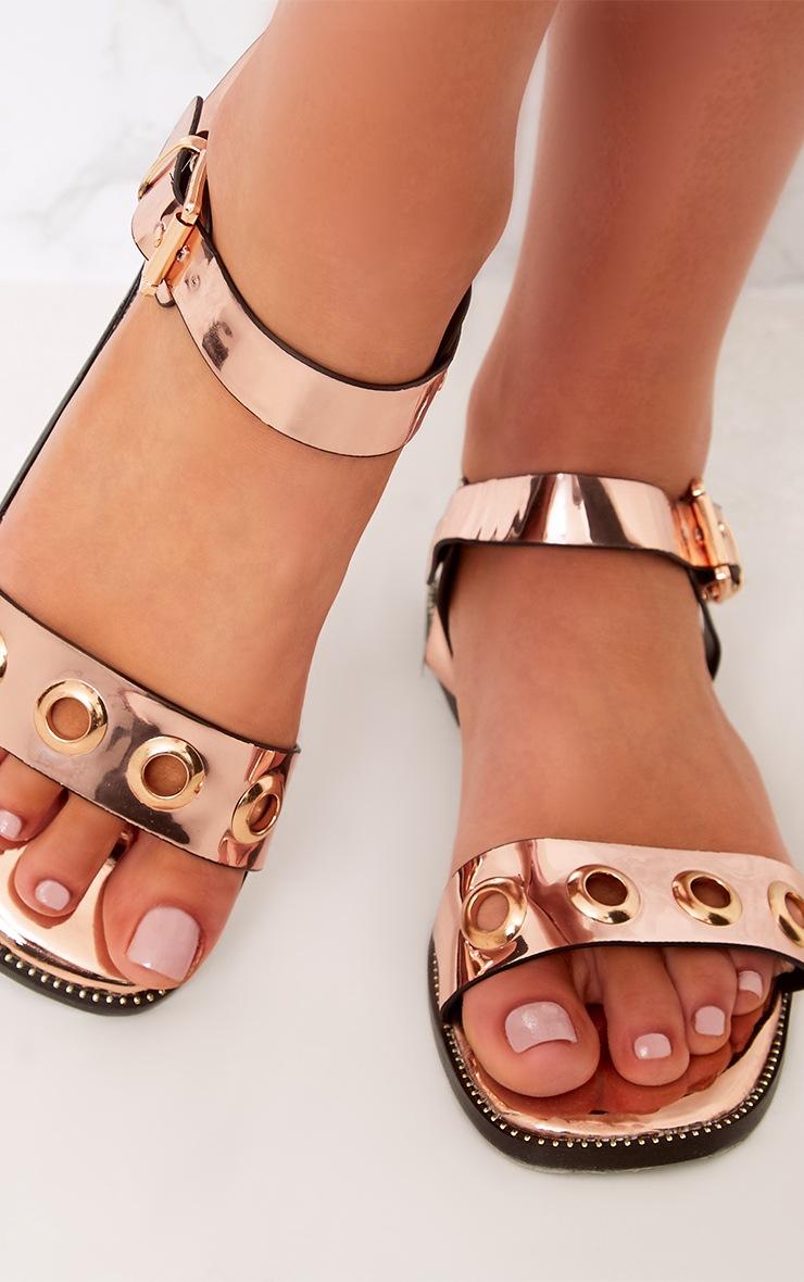 Marlene Rose Gold Metallic Eyelet Sandals  5