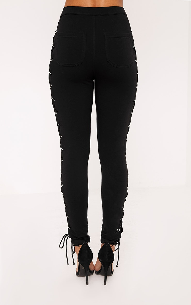 Lulu Black Side Lace Up Skinny Pants 4