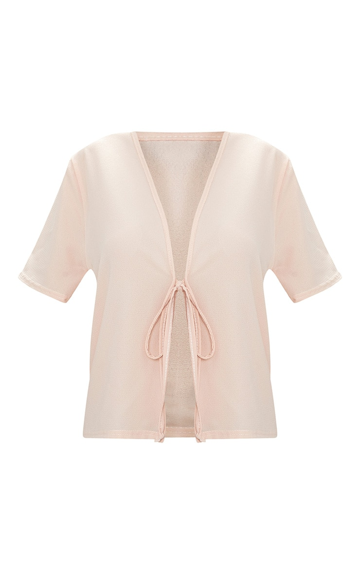 Nude Chiffon Tie Front Short Sleeve Blouse 3