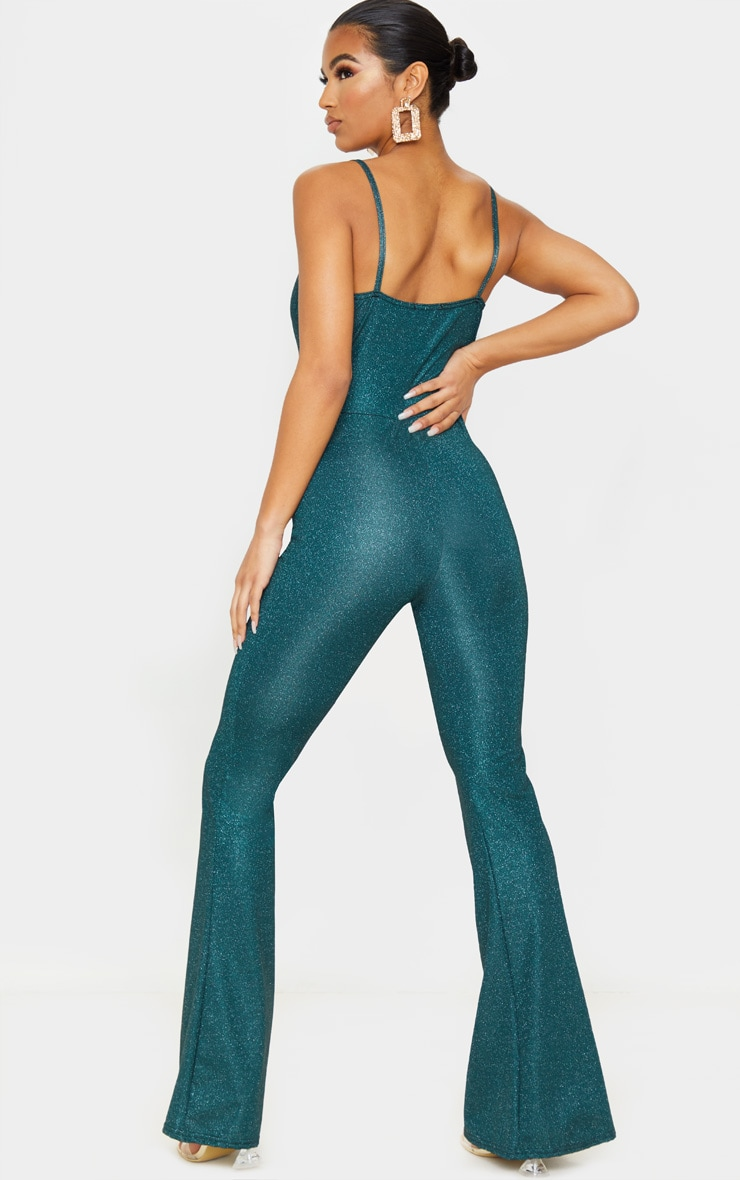 Emerald Green Glitter Knot Front Strappy Jumpsuit 2