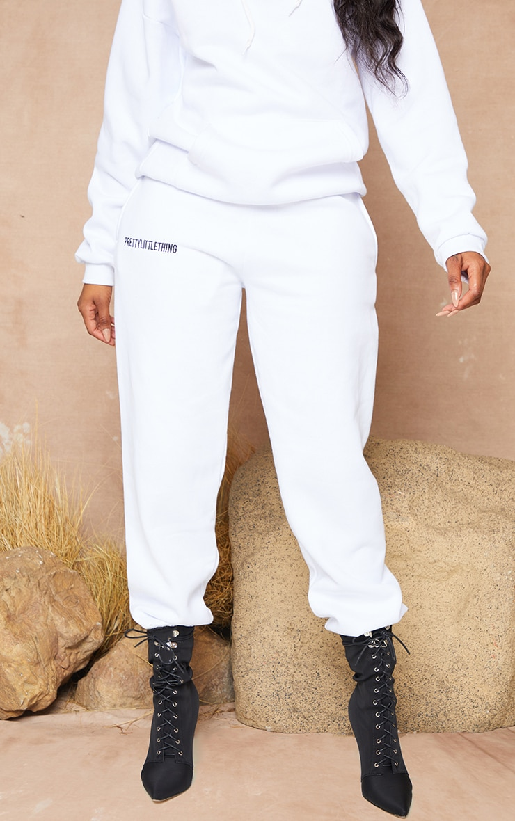 PRETTYLITTLETHING White Embroidered Slogan Joggers 3