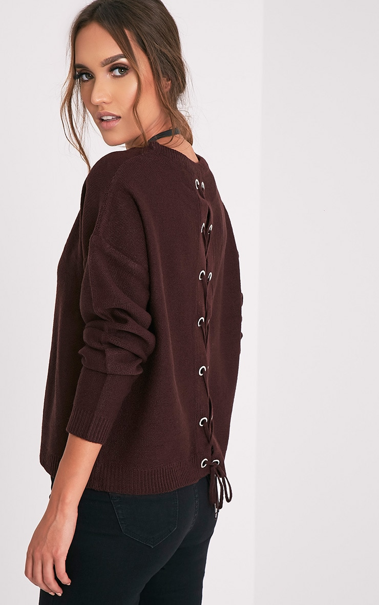 Alissa Berry Lace Up Back Knitted Jumper 1