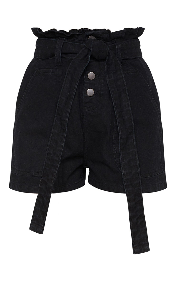 Black Paperbag Denim Shorts  3