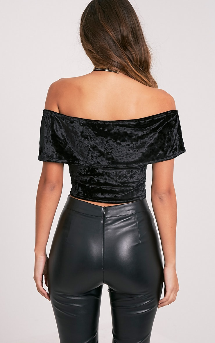 Charl Black Crushed Velvet Bardot Crop Top 2