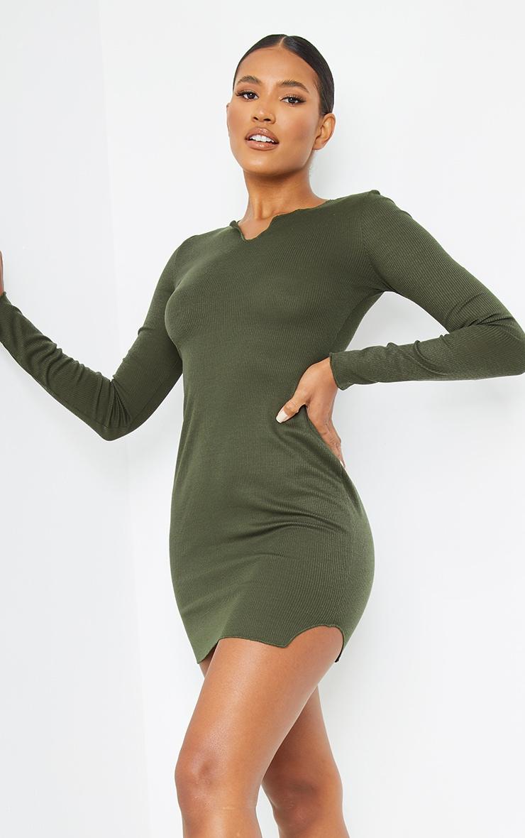 Khaki Split Detail Thumb Hole Raw Edge Bodycon Dress 1