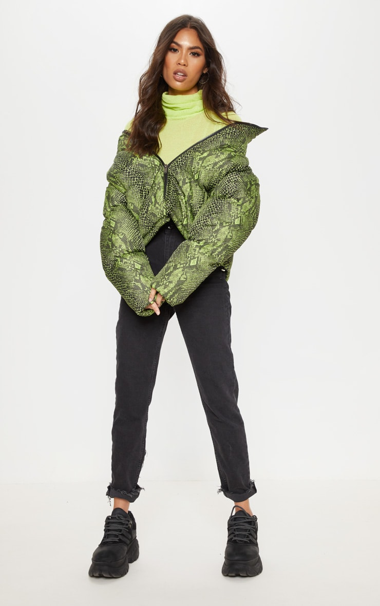 Neon Green Lime Snake Print Puffer 1