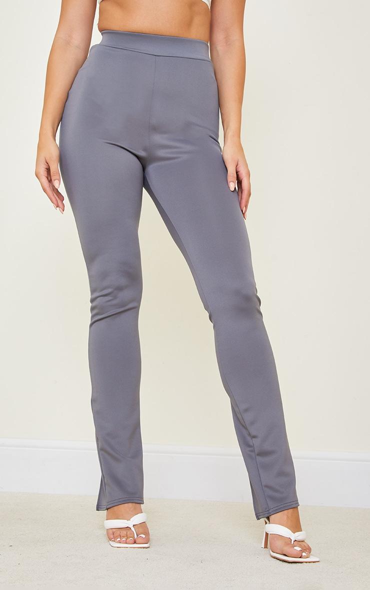 Tall Grey Back Split Hem Pants 2