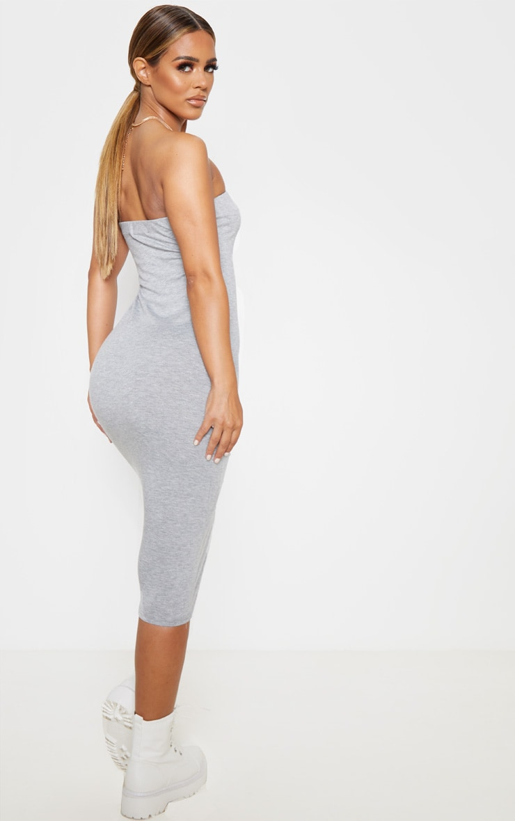 Petite Grey Marl Bandeau Jersey Midi Dress 2