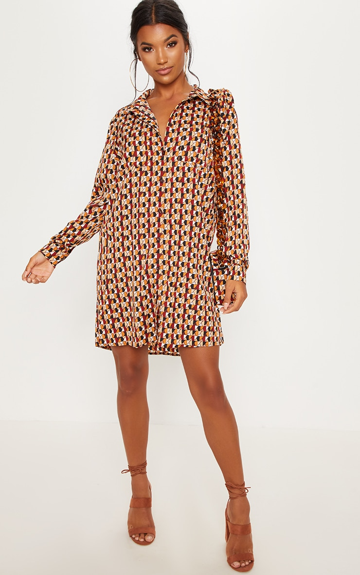 Brick Multi Geometric Print Shirt Dress 3