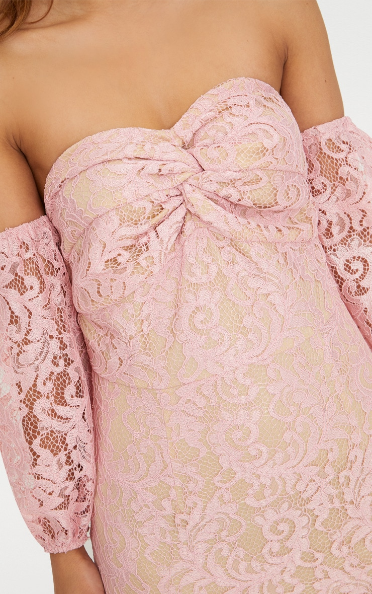 Petite Dusty Pink Lace Puff Sleeve Bodycon Dress 5