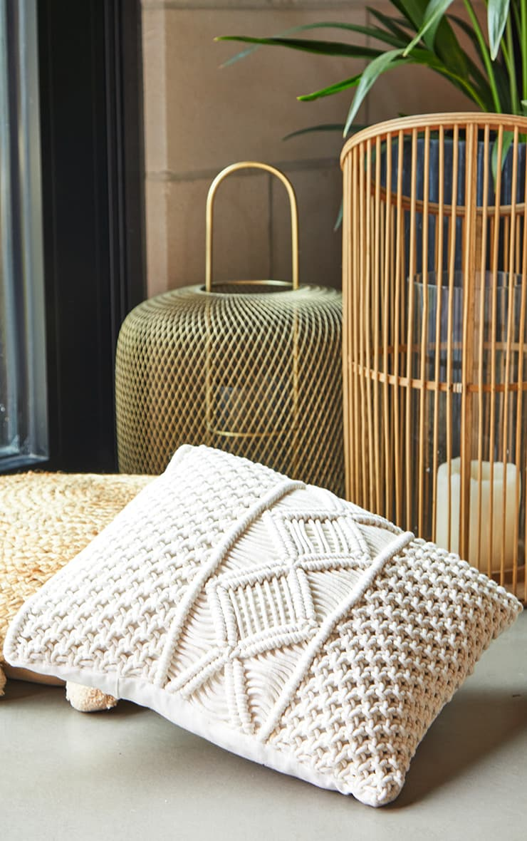 Natural Woven Macrame Filled Cushion 1