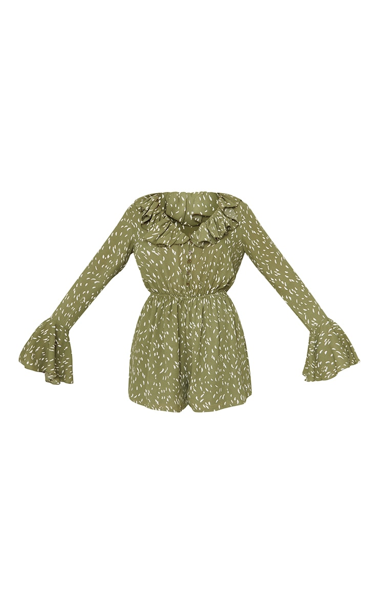 Green Printed Flare Sleeve Button Detail Playsuit 5