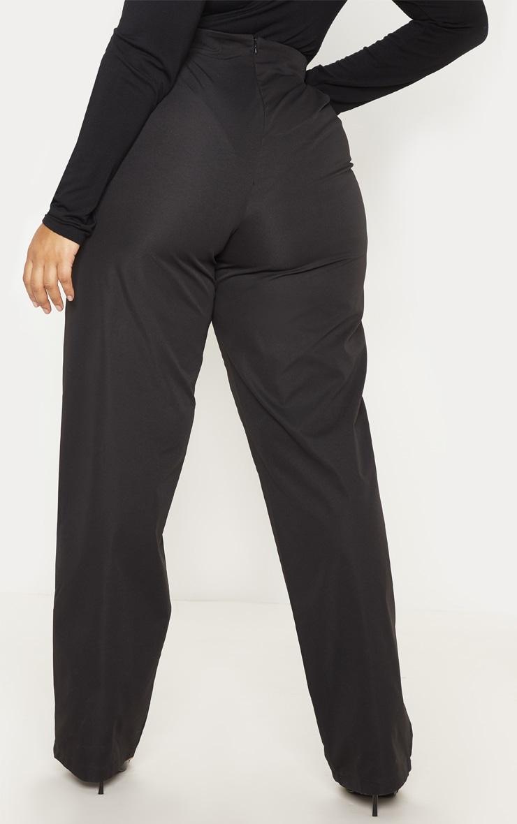 PLT Plus - Pantalon ample noir à détail boutons et pli 4