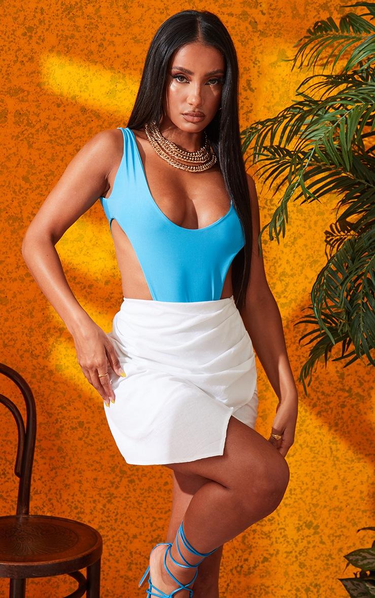 White Pleated Linen Look Mini Skirt 5