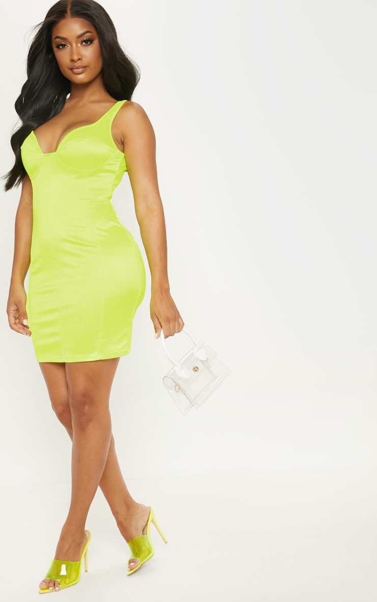 Shape Neon Lime Satin Bust Cup Seam Detail Bodycon Dress 4