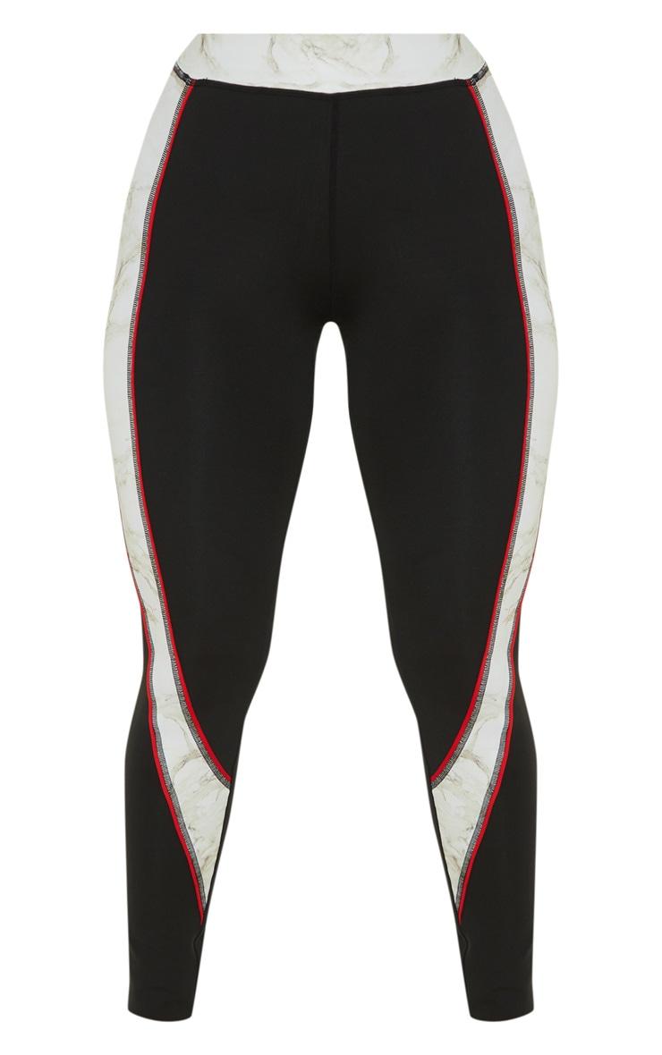 Legging de sport noir à bandes effet marbre 3