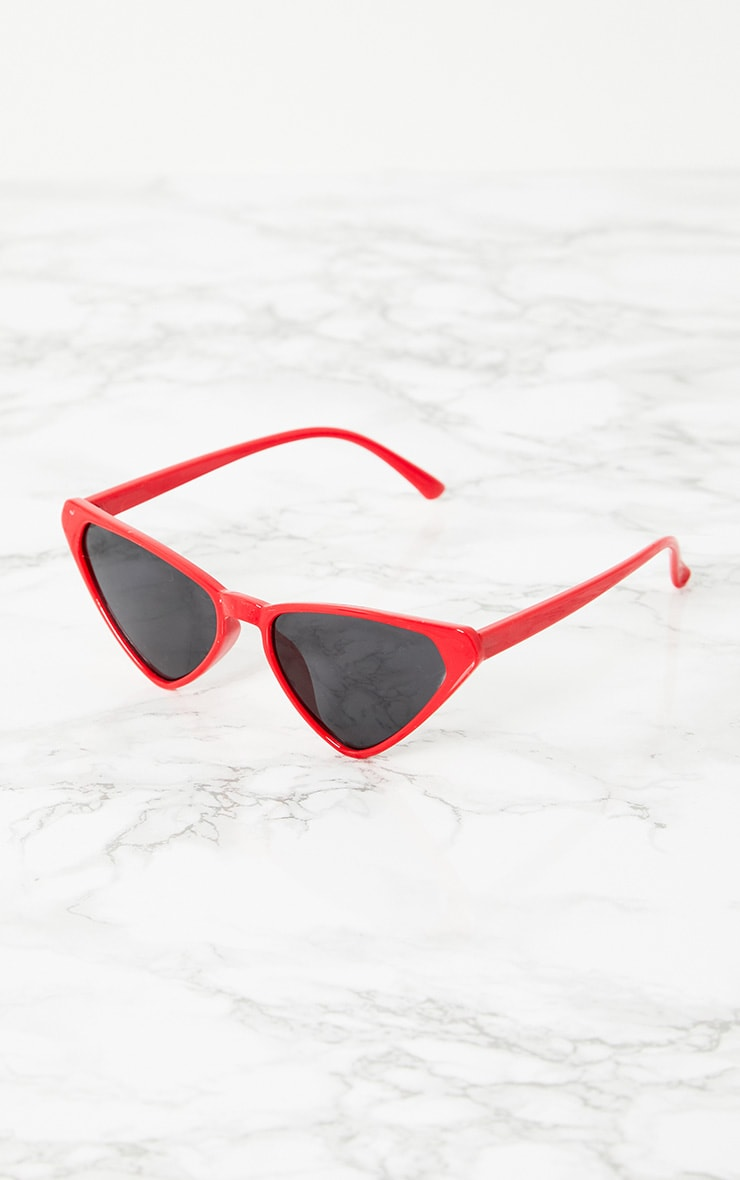 Red Wide Triangle Sunglasses 2