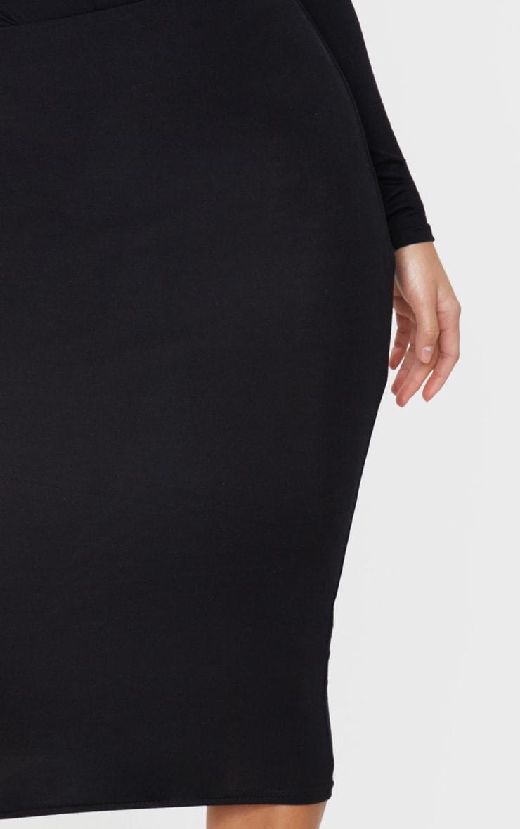 Petite Black Jersey Midi Skirt 4