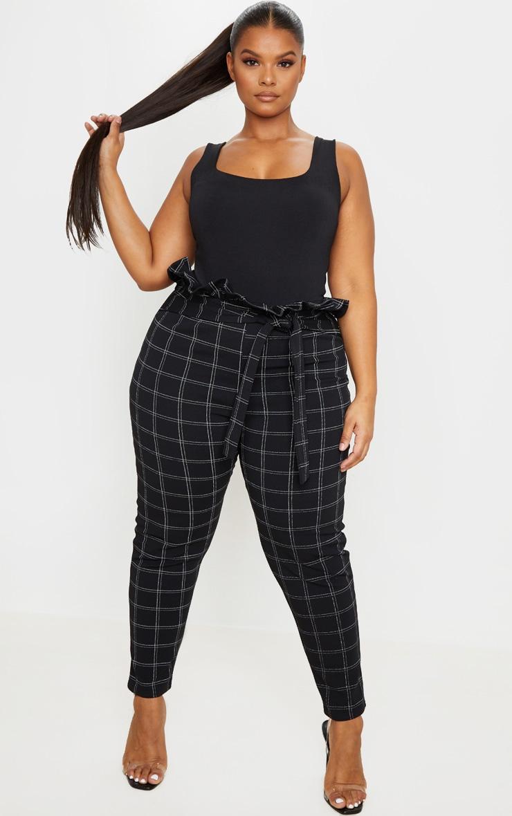 PLT Plus - Pantalon style paperbag skinny en tweed noir à carreaux 1