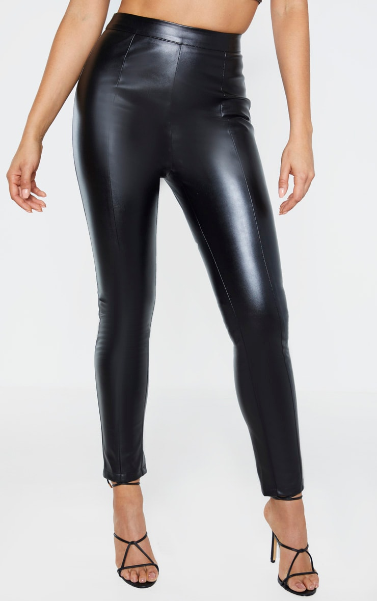 Tall Black Cropped Faux Leather Pants 2