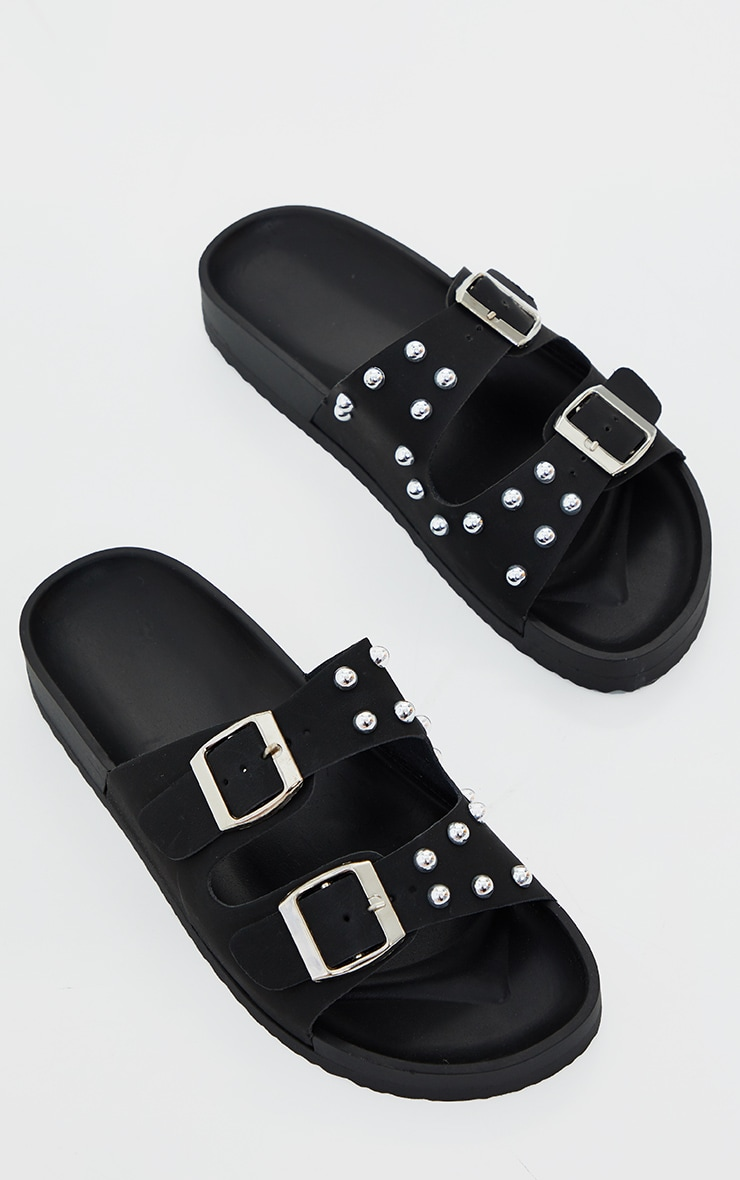 Black Pu Studded Twin Strap Buckle Trim Footbed Sandals 2