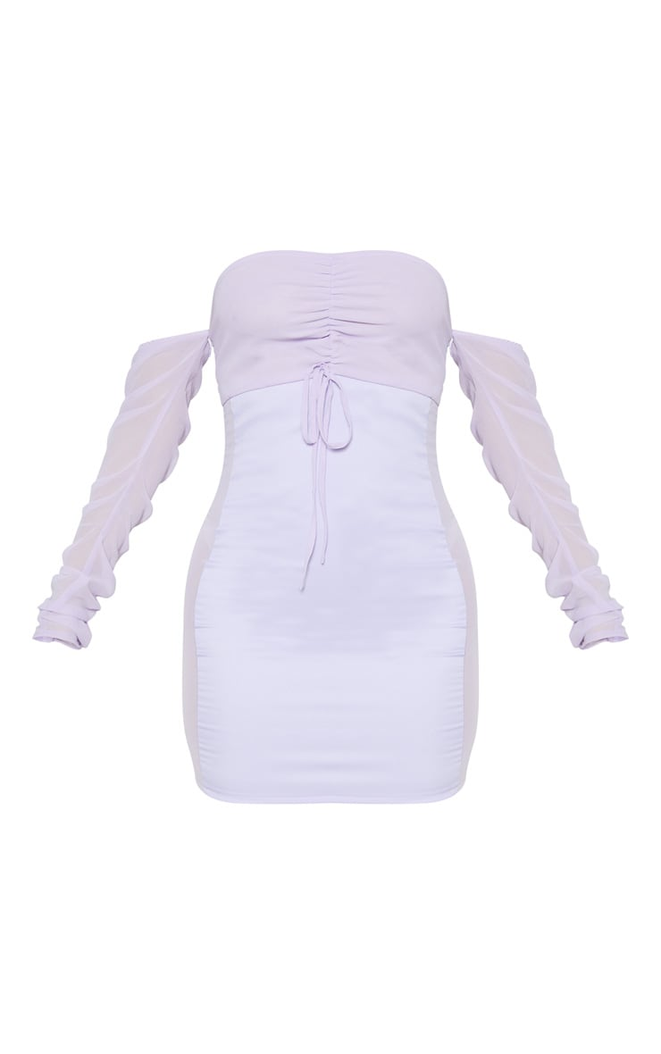 Lilac Mesh Ruched Bodycon Dress 3