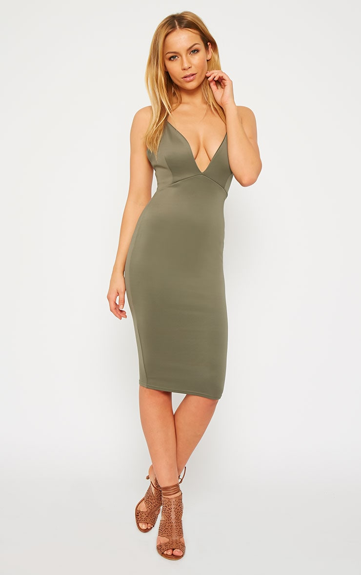 Nada Khaki Plunge Cross Back Midi Dress 4