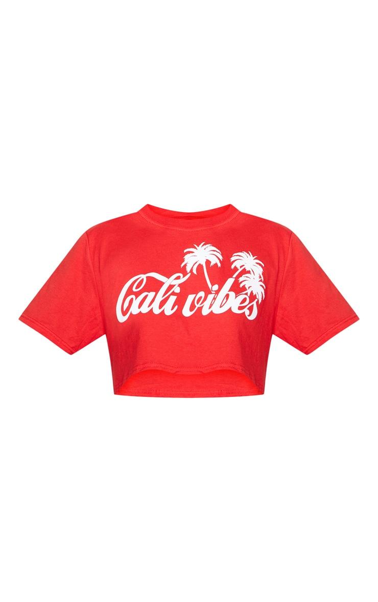 Red Cali Vibes Slogan Crop T Shirt 3