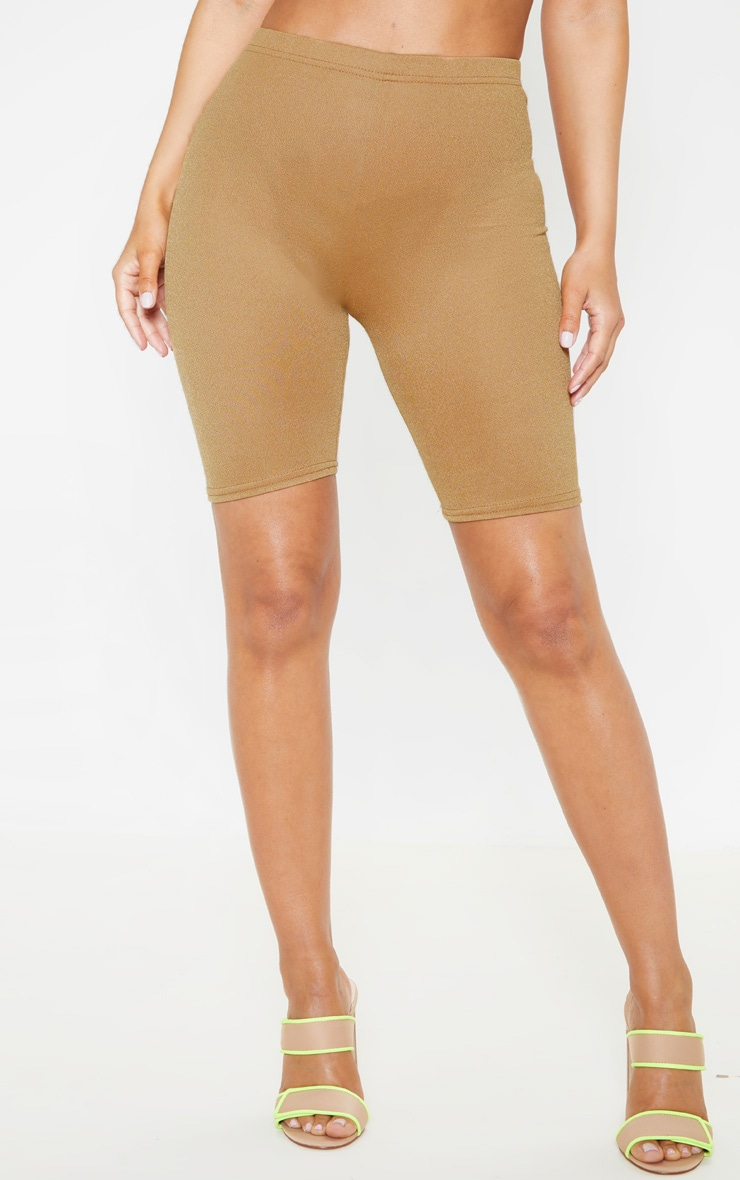 Petite Camel Stretch Crepe Cycling Shorts 2