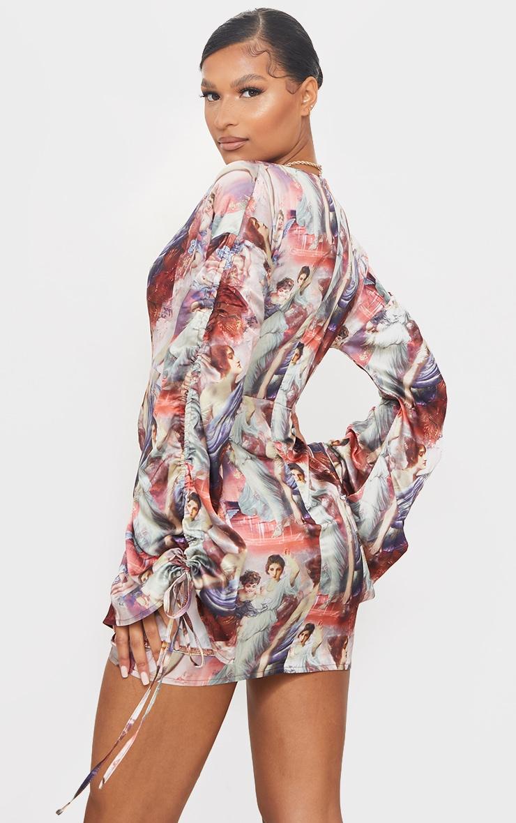 Multi Renaissance Print Satin Plunge Ruched Front Bodycon Dress 2