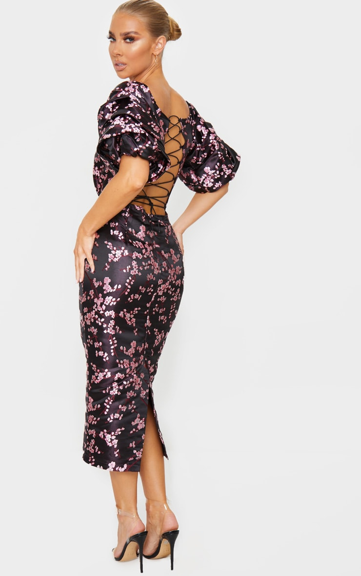 Black Floral Jacquard Lace Up Back Midi Dress 2
