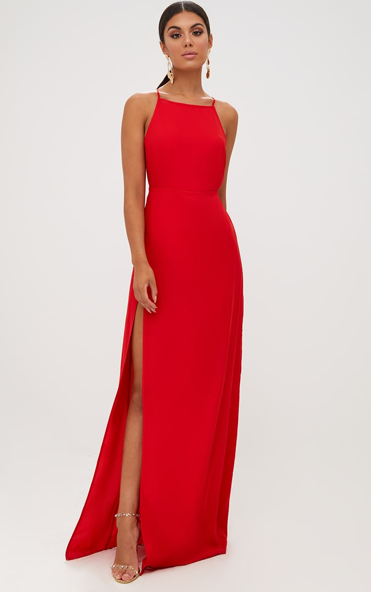 Red Strappy Back Detail Chiffon Maxi Dress 5