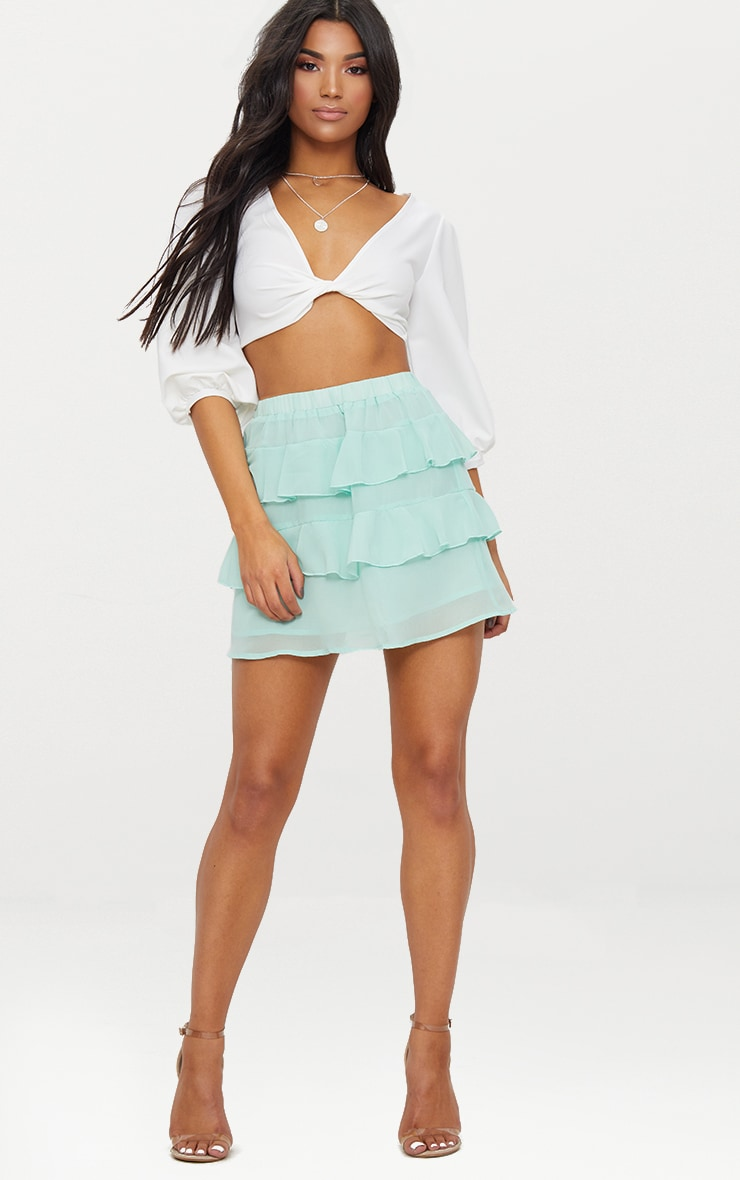 Sage Green Chiffon Ruffle Mini Skirt 4
