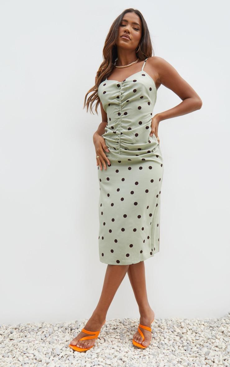 Sage Green Polka Dot Strappy Ruched Centre Midi Dress 3