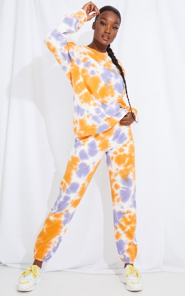 Tall Orange Oversized Tie Dye Joggers 1