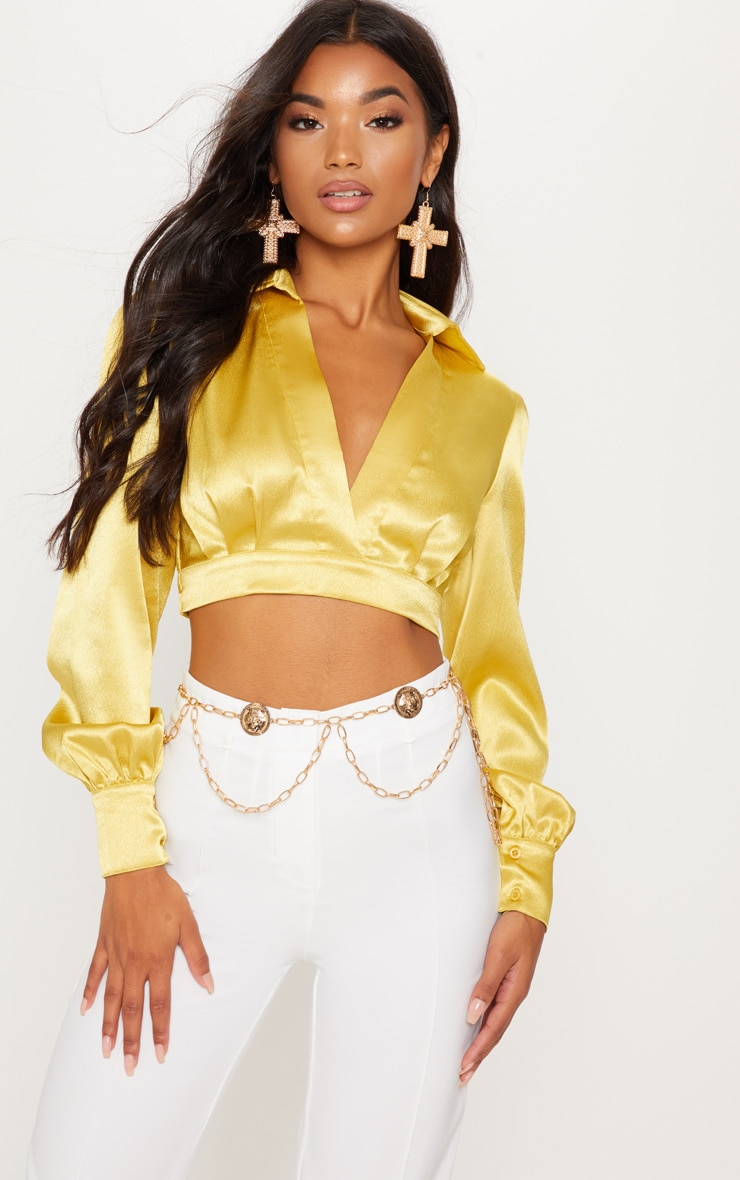 Chartreuse Metallic Satin Cropped Shirt