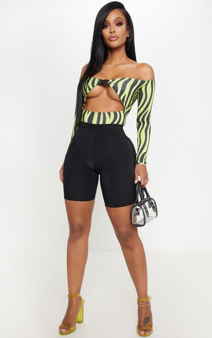 Shape Neon Green Zebra Print Bardot Buckle Front Bodysuit 5