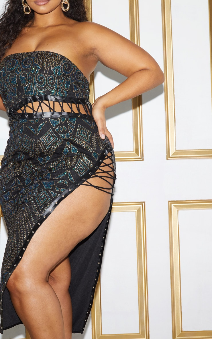 Plus Black Glitter Lace Detail Bandeau Midi Dress 6
