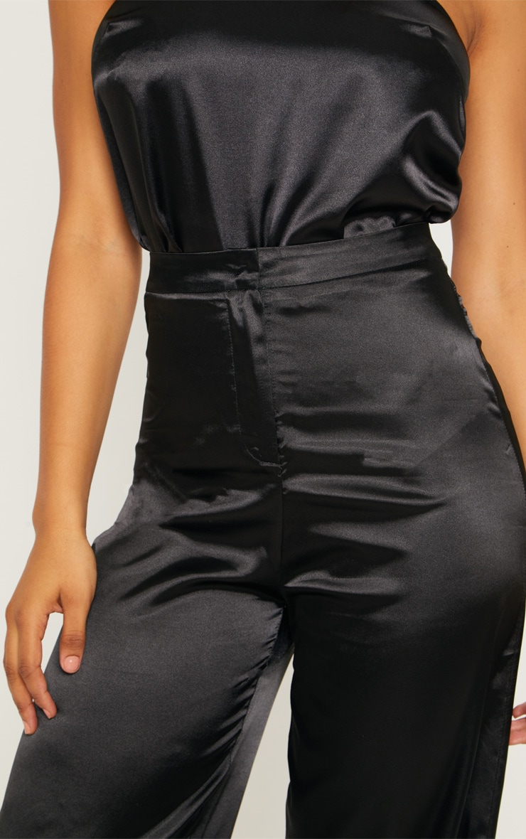 Tall Black Satin Wide Leg Trouser 5