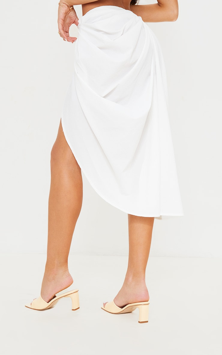 White Textured Woven Ruched Side Midi Skirt 3
