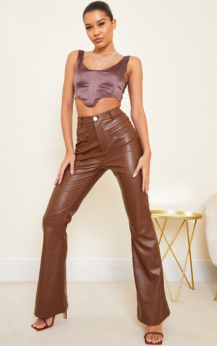 Chocolate Satin Dipped Hem Cropped Corset 3